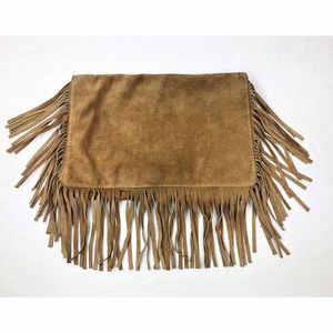Handbags - Tan Leather Suede Fringe Clutch Purse Handbag
